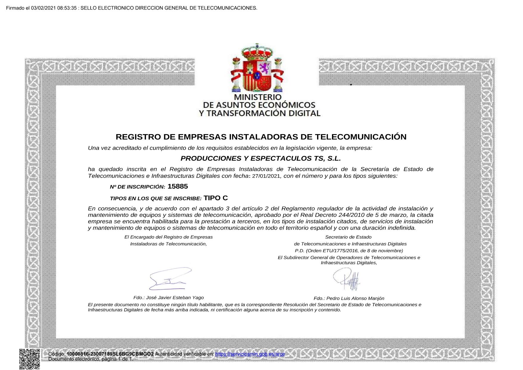 Registro de Empresas Instaladoras de Telecomunicación